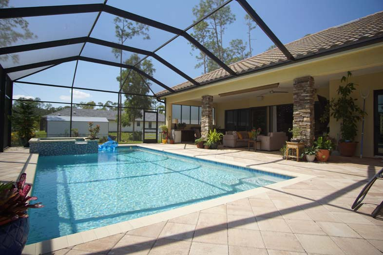 Screened in lanai with large pool