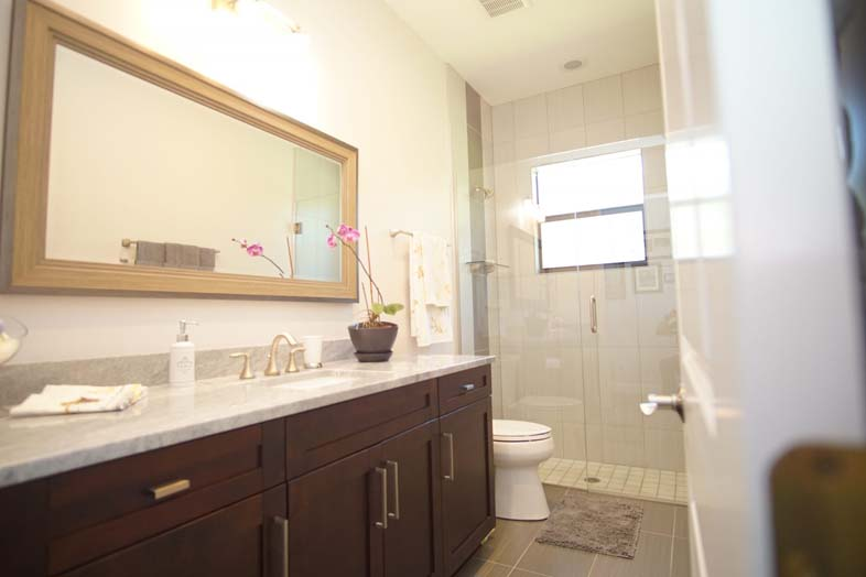 guest bathroom with modern cabinets, naples, fort myers, fl