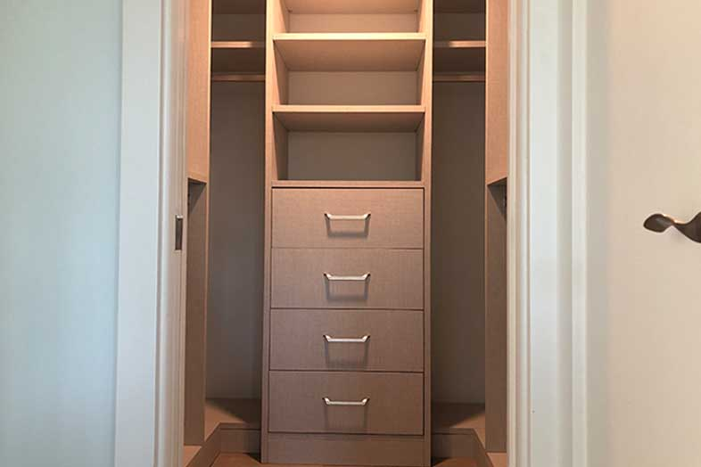 newly remodeled walk-in closet, closet remodel by spec development